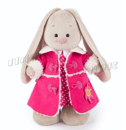 Зайка Ми в розовом платье и розовой дубленке (большая)